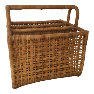 1940's French Woven Bamboo Magazine Holder