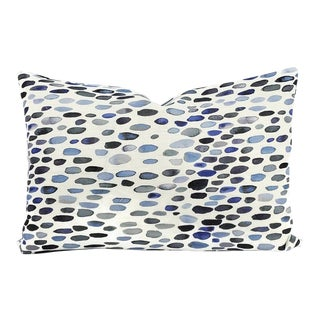 Grey Watkins Jamboree in the Color Blues Lumbar Pillow Cover For Sale