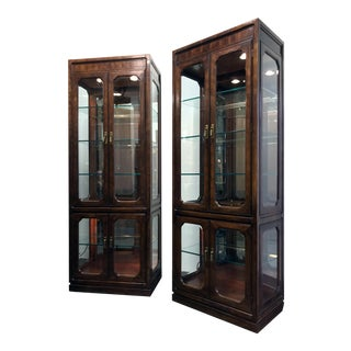 Thomasville Mystique Asian Chinoiserie Curio Display Cabinets - a Pair