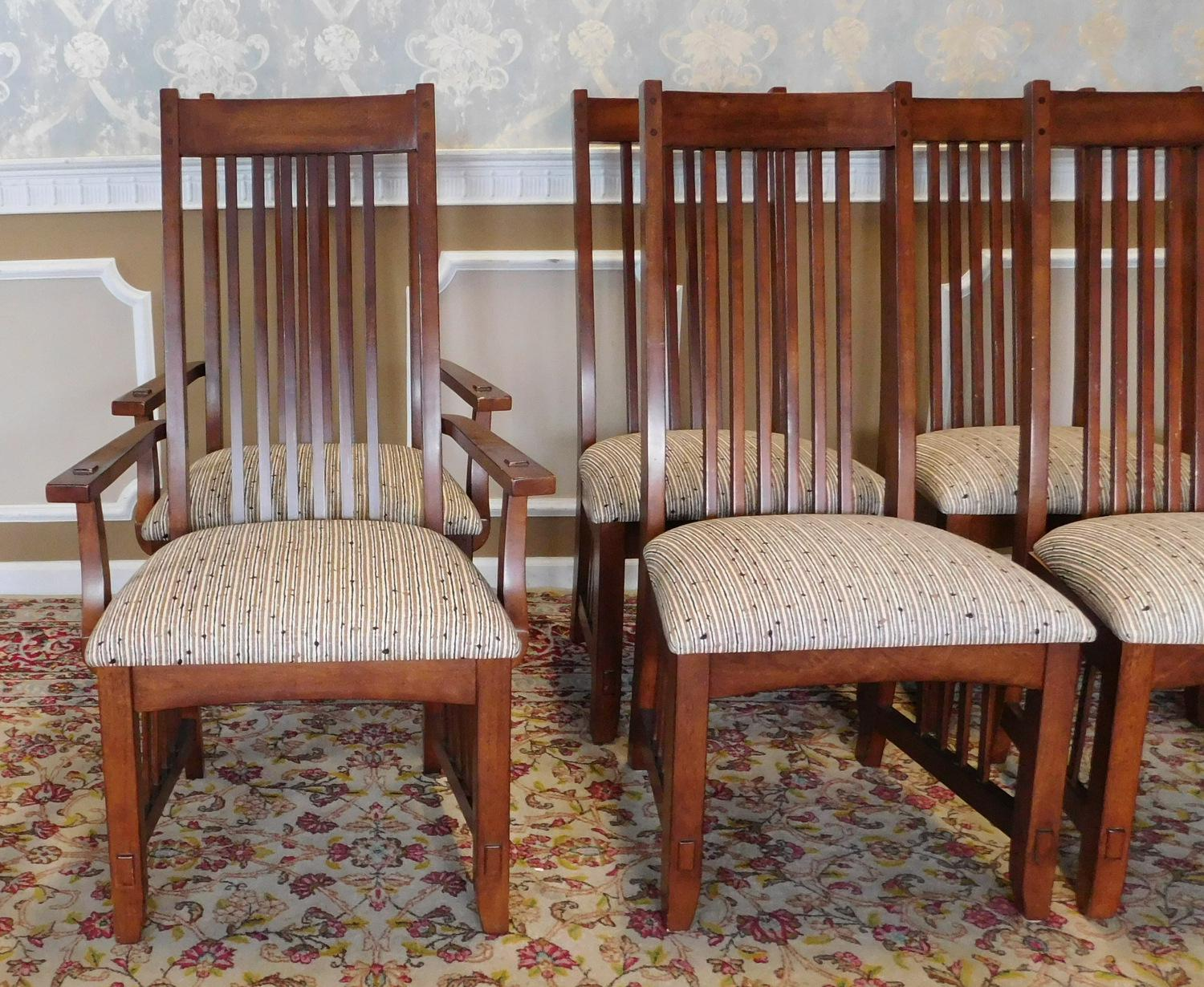 1990s Arts U0026 Crafts Mission Style Dining Room Chairs   Set Of 8   Image 2