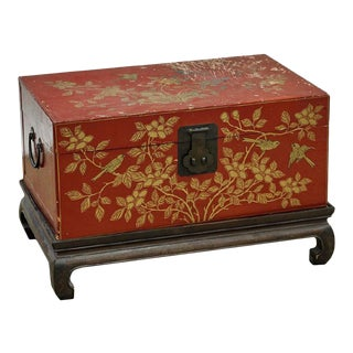Old Chinese Red Wood Chest