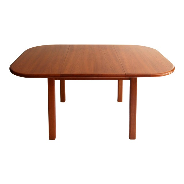 Vintage Mid-Century Modern Teak Extending Dining Table by D-Scan For Sale