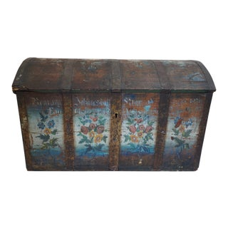 Antique Painted Scandinavian Wedding Trunk-1879 For Sale