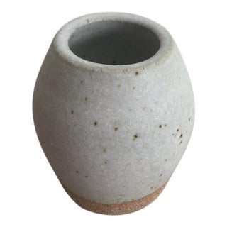 Boho Chic MANA Ceramics Light Gray Pottery Bud-Vase For Sale