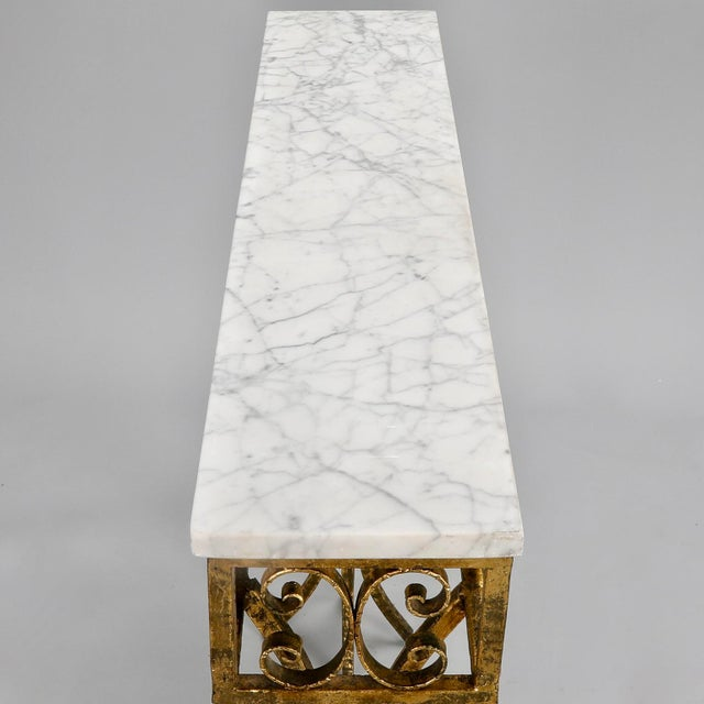 French Gilt Iron Wall Hung Console with Marble Top For Sale - Image 10 of 11