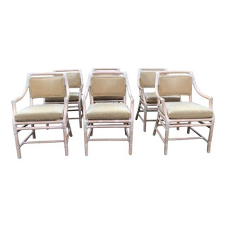 1980s Vintage McGuire Rattan Dining Armchairs - Set of 6 For Sale