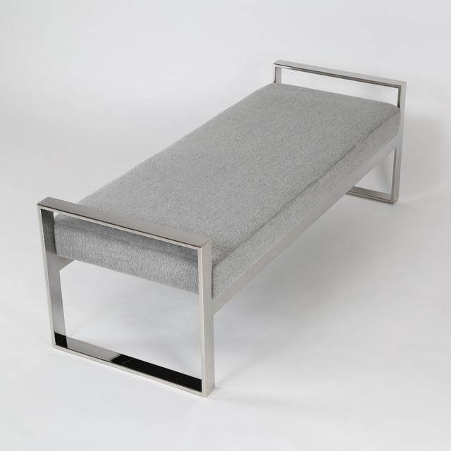 Mid-Century Modern 1970's VINTAGE Chrome-Framed Bench For Sale - Image 3 of 10