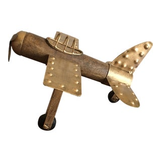 Americana Wood and Metal Airplane Figurine