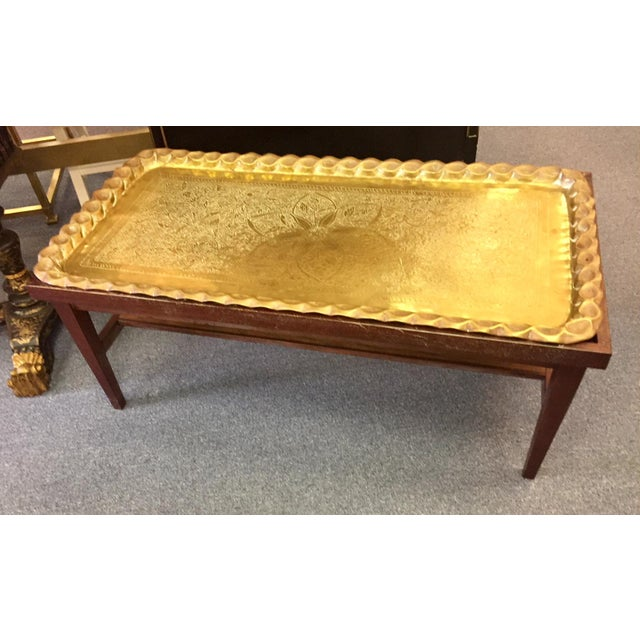 Boho Chic Moroccan Style Hand-Etched and Hammered Brass Tray Top Table For Sale - Image 3 of 12