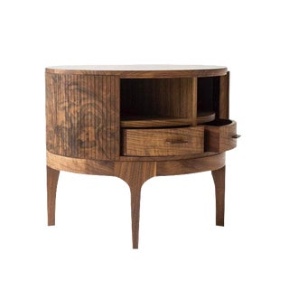 Tambour Circle Side Table by Poritz & Studio For Sale