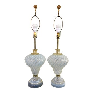 Murano Glass Italy Pair of Table Lamps For Sale