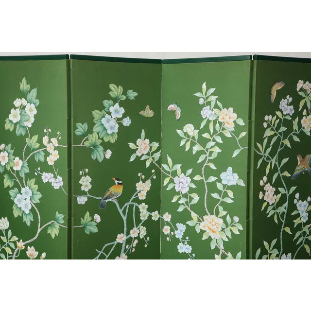 Paper Green Chinoiserie Six-Panel Hand-Decorated Screen For Sale - Image 7 of 11