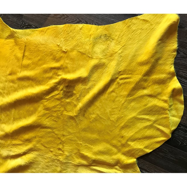 Modern Yellow Cowhide Rug - (Large) For Sale - Image 3 of 4