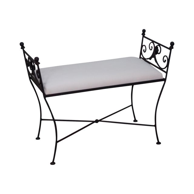 Black Iron Frame Regency Style Bench For Sale