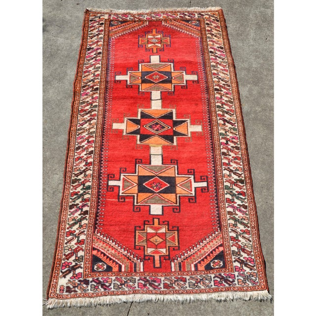 """Vintage Hand Knotted Persian Kazak Area Rug - 3' 11"""" X 7' 6"""" For Sale - Image 10 of 10"""