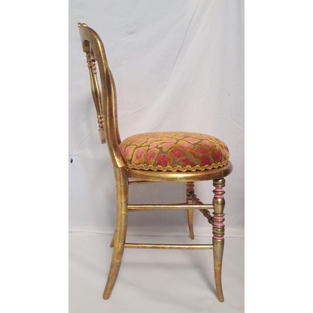 Hollywood Regency Gold-Leafed & Leopard Velvet Vanity Chair - Image 4 of 8