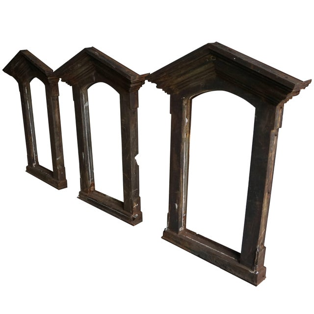 French 19th Century French Industrial Cast Iron Window Frames - Set of 3 For Sale - Image 3 of 4