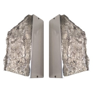 Pair of Italian Camer Glass Wall Sconces by Mazzega For Sale