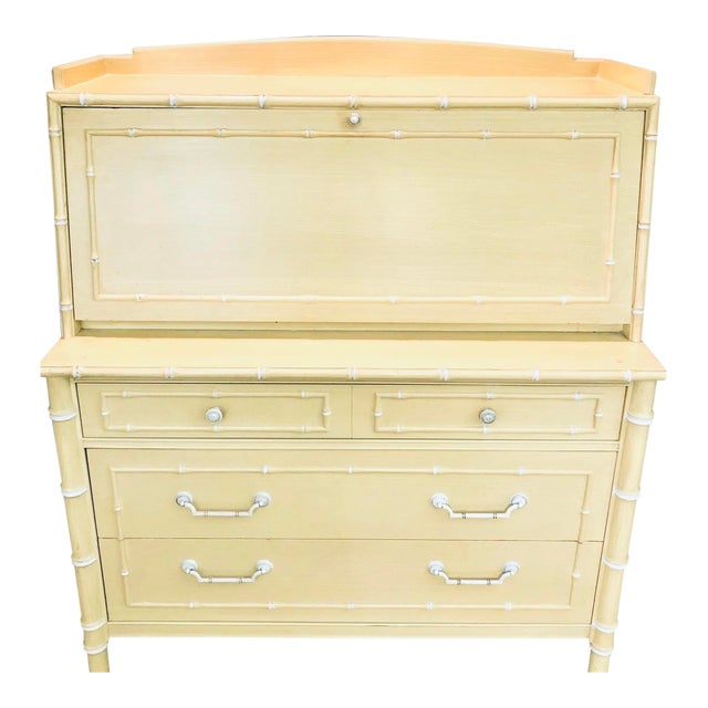 Thomasville Faux Bamboo Drop Down Secretary Desk For Sale