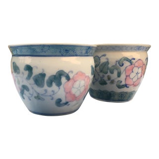 Hand Painted Chinoiserie Porcelain Planter Pots - A Pair