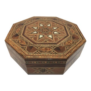 Middle Eastern Syrian Inlaid Marquetry Mosaic Octagonal Jewelry Box For Sale