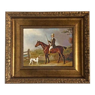 """A Gentleman With His Hunter and Pointer"" Oil Painting Print on Canvas in Antiqued Gold Frame 8x10"" and Framed to 14 X 16"". For Sale"