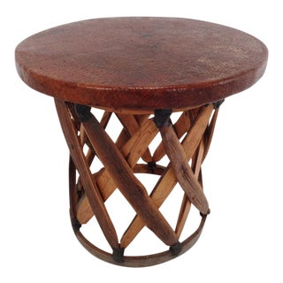 Vintage Mexican Cedar & Leather Equipale Stool Stand