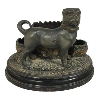 19th C. French Terra Cotta Dog Match Safe For Sale