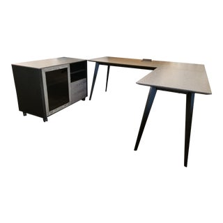 Modern Oslo L-Shaped Writing Desk & Computer Cabinet For Sale
