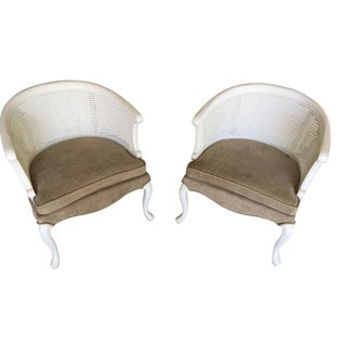 French Country Barrel Back Caned Chairs – Pair