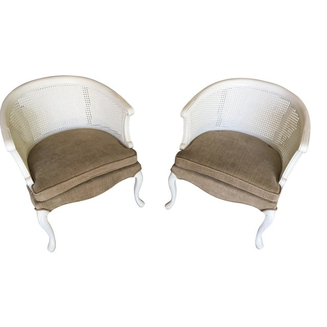 French Country Barrel Back Caned Chairs – Pair For Sale