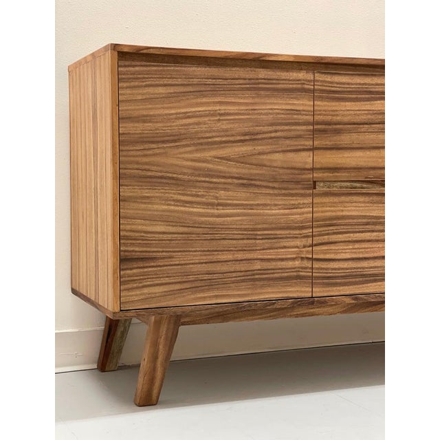 Mid Century Modern Solid Wood Credenza For Sale - Image 4 of 6