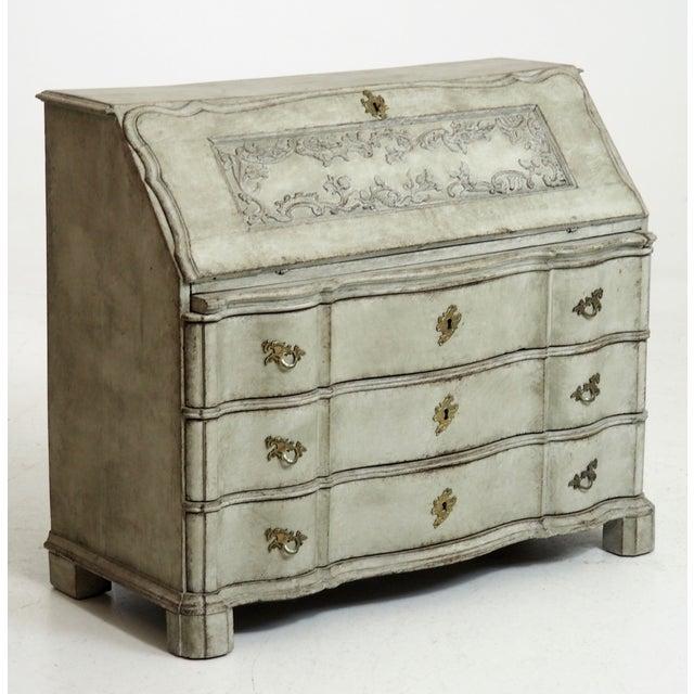 Mid-Century Modern Carved Scandinavian Secretary For Sale - Image 3 of 3