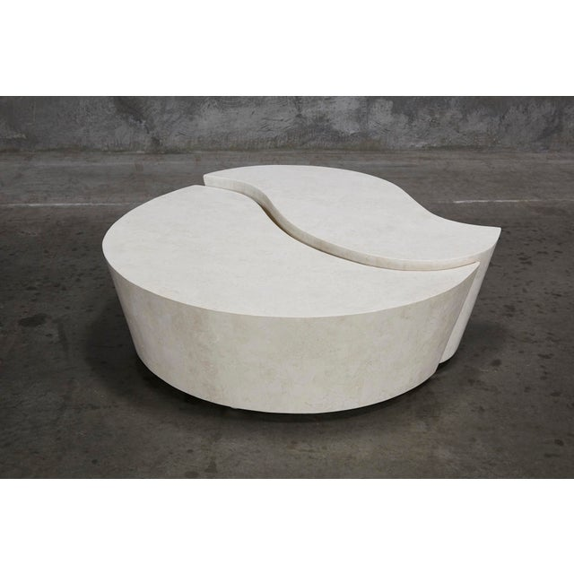 """1990s Contemporary Freeform White Stone Two Part """"Hampton"""" Coffee Table For Sale - Image 13 of 13"""