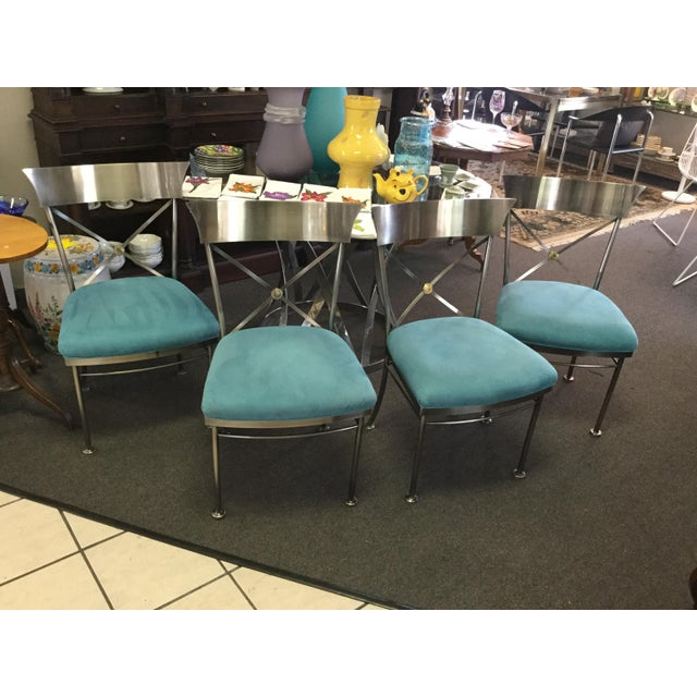 Metal Turquoise Sueded Seat & Brushed Platinum Chairs - Set of 4 For Sale - Image 7 of 7