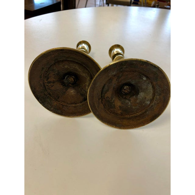 1970s Vintage Spiraled Brass Candle Sticks - a Pair For Sale - Image 5 of 7