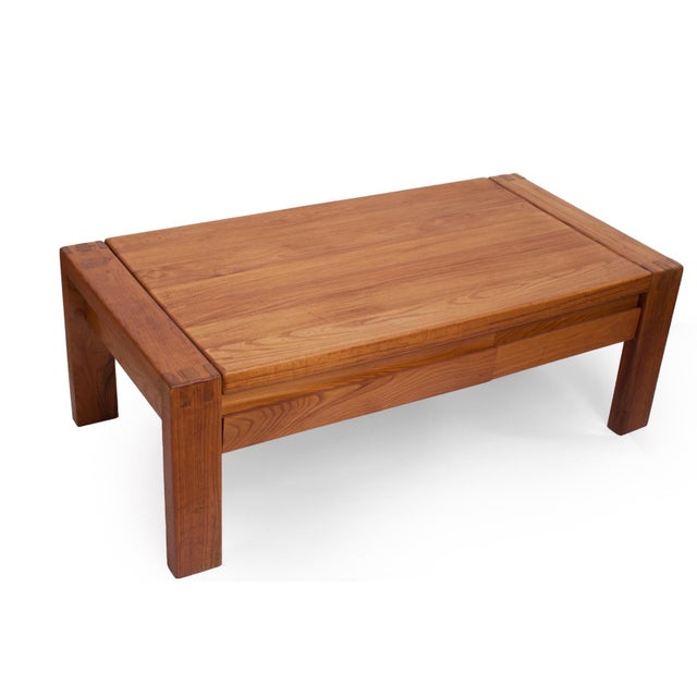 Pierre Chapo French 1960s Pierre Chapo Crafted Oak Coffee Table For Sale - Image 4 of 7