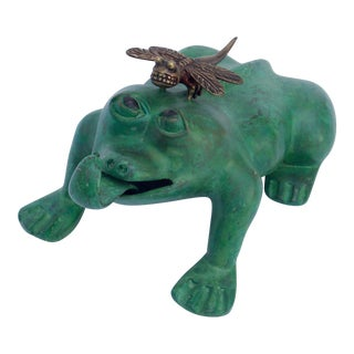 Bronze Frog & Dragonfly Garden Figurine For Sale