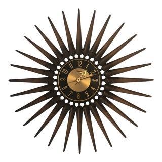 Mid Century Danish Style Sunburst Working Wall Clock For Sale