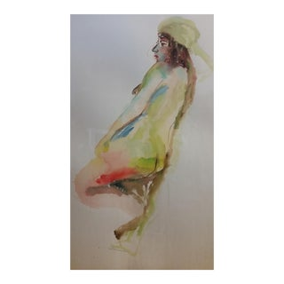 Framed Signed French Female Nude Watercolor For Sale