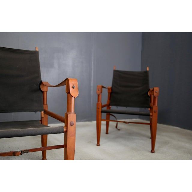 Animal Skin Pair of Vintage Safari Chairs by Kaare Klint for Rud. Rasmussen For Sale - Image 7 of 8