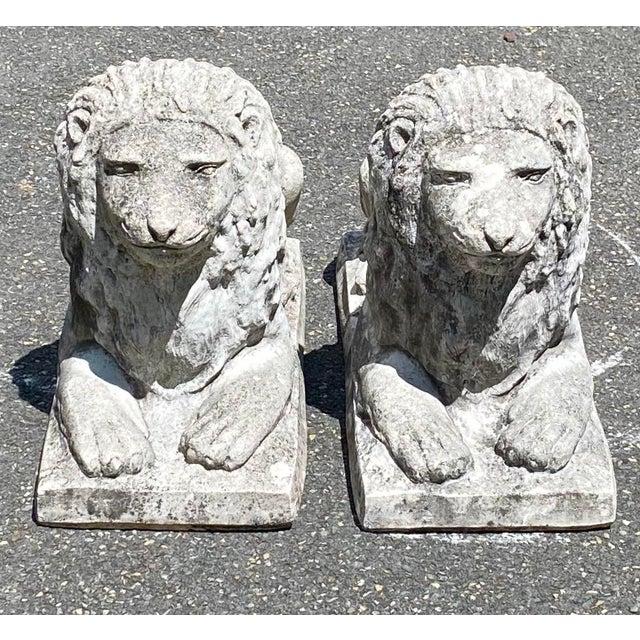 Concrete Vintage Concrete Sitting Lions - a Pair For Sale - Image 7 of 8