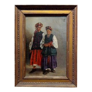Russian Wedding - Original 19th Century Oil Painting For Sale