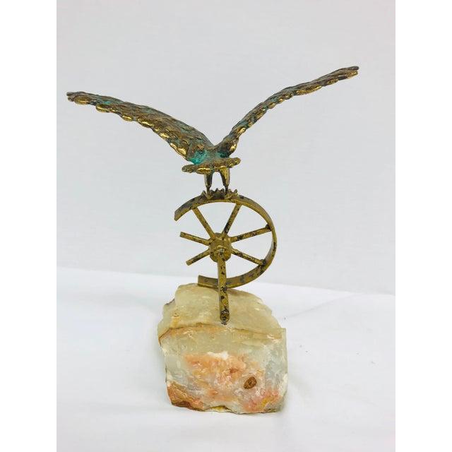 Brass Eagle on Wheel Quartz Statuette For Sale - Image 4 of 12