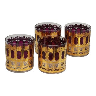 "Culver Hollywood Regency ""Cranberry Scroll"" Cocktail Glasses For Sale"