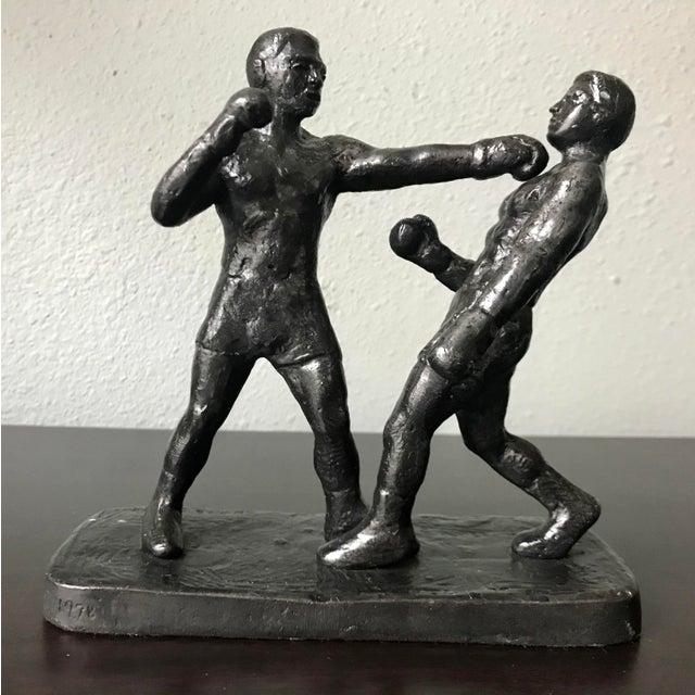 1970s Vintage Spectrum Arts Brutalist Boxing Greg Wyatt Cast Bronze Statuttete For Sale - Image 10 of 10