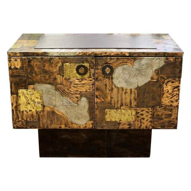 Mid Century Modern Paul Evans Directional Slate Top Copper Patchwork Cabinet 1960s For Sale - Image 12 of 12