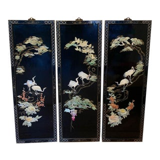 Set of 3 Mid Century Mother of Pearl Chinese Wall Panels For Sale