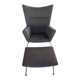 Hans Wegner Wing Chair and Ottoman For Sale