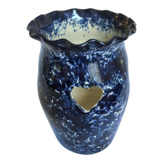 Late 20th Century Handmade Spongeware Studio Pottery Votive Holder Form Catawba Valley For Sale